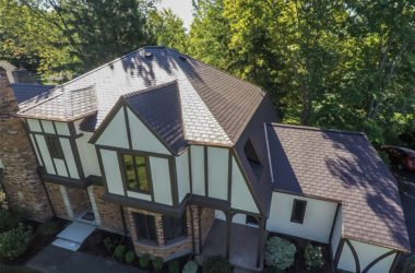 Roof on Tudor style home